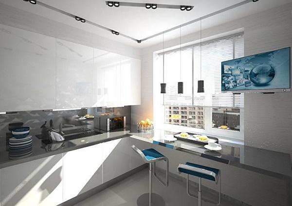 Cocina con barra asimetrica