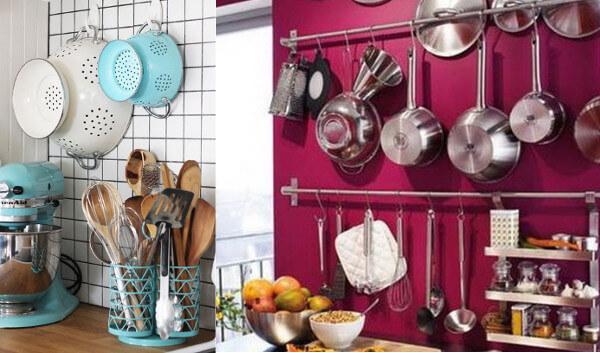 9 ideas tiles para usar ganchos en el hogar for Colgar utensilios de cocina