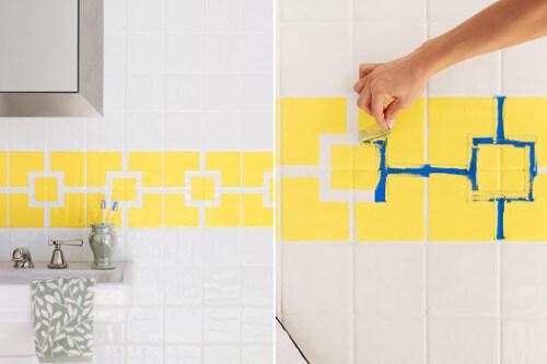 5 ideas para pintar los azulejos del ba o y la cocina - Pintar baldosas de bano ...