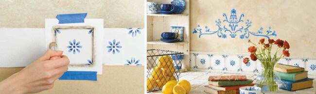 Pintar azulejos con stencil